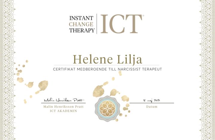 Helene Lilja Cert. Medberoende till Narcissist Terapeut